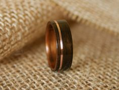 Men's Wooden Wedding Band with 14k Rose Gold Inlay in Macassar Ebony Wood with Koa Wood Lining-Hand Crafted Wooden Ring
