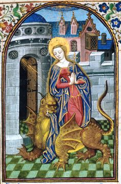 Detail of a miniature of St Margaret emerging from the dragon, from a Book of Hours, France (Paris), c. 1440 – c. 1450, Egerton MS 2019, f. 216r - See more at: http://britishlibrary.typepad.co.uk/digitisedmanuscripts/2014/07/enter-the-dragon-happy-st-margarets-day.html#sthash.oR5B5Fpu.dpuf
