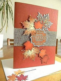 Preschool Crafts That Are Simple And Fun Thanksgiving Greeting Cards, Holiday Cards, Christmas Cards, Happy Thanksgiving, Handmade Thanksgiving Cards, Leaf Cards, Hand Stamped Cards, Stamping Up Cards, Greeting Cards Handmade