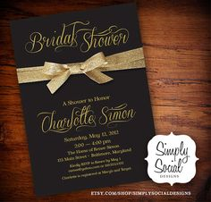 Bridal Shower Invitation with Gold Glitter Ribbon