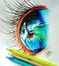 Gelson Fonteles, un dessinateurbrésilien de Fortaleza, réalisede superbes gros plans d'iris colorés en utilisant uniquement des stylos à bille. Gel