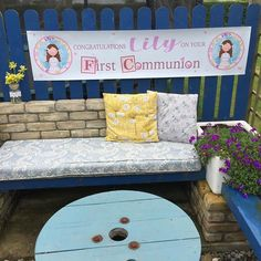 Managed to capture this picture before the rain began, made this personalised banner for my niece, taking orders if anyone would like one! First Holy Communion, Outdoor Furniture, Outdoor Decor, Holi, Congratulations, Unique Gifts, Banner, Rain, Pictures