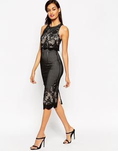 ASOS Lace Crop Top Pencil Midi Dress