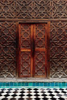 The entrance of Al-Attarine Madrassa, an Islamic school built in the 13th century.