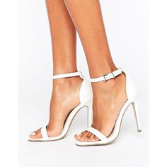 Missguided Barely There Ankle Strap Sandals (43 CAD) ❤ liked on Polyvore featuring shoes, sandals, white, high heeled footwear, white shoes, open toe high heel shoes, white open toe shoes and high heel shoes
