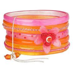 Orna Lalo Design Bracelet Bangle Pink Orange Ladies Bead