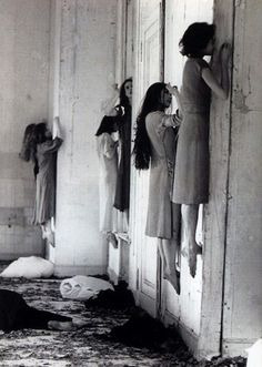 "I love this.  And no, it is NOT a real photo from an insane asylum, lol.  CREDIT: German performer Pina Bausch did a piece in 1977 - ""Blaubart"" (or in English, ""Bluebeard"") - and this was a part of that performance."