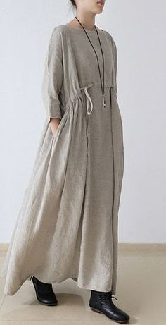 2017 linen dresses asymmetric bracelet sleeved drawstring maxi dress