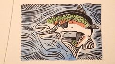 Original TROUT Watercolor Block Print Rainbow by FarmhousePrint