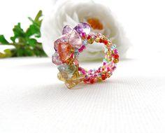 Multicolored Ring - Adjustable Ring - Quartz Chips Ring -  Handmade Jewellery