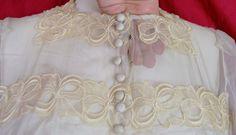Vintage 40s Sheer Bodice Wedding Dress w Floral Eyelet Trim ELEGANT | eBay