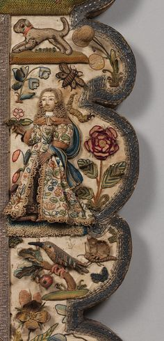 Mirror with stumpwork.17th century  English  Satin worked with silk, chenille, purl, shells, wood, beads, mica, bird feathers, coral; detached buttonhole variations, long-and-short, satin, couching stitches, and knots