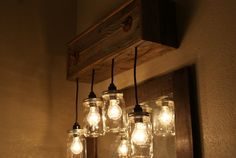 Upcycled Wood Wall Mount Fixture with Mason by Bornagainwoodworks, $240.00 reclaimed wood mason jar light fixture vanity