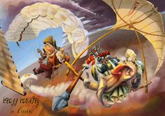 Don Quixote and Sancho Pancho with hang gliders, paragliders and windmills Powered Parachute, Don Quixote, Paragliding, Ham, Princess Zelda, Animation, Windmills, Gliders, Illustration