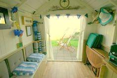 Beach hut without inside doors.