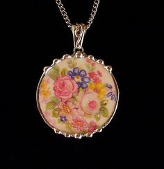 Broken china jewelry pink white roses circle pendant necklace made from a broken plate