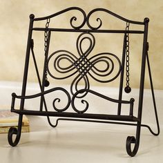 Pergola For Small Backyard Recipe Book Holders, Cookbook Holder, Wrought Iron Staircase, Wrought Iron Decor, Iron Furniture, Furniture Ads, Cook Book Stand, Home Office Cabinets, Metal Pergola