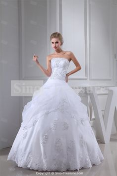 White Floor-length Satin Corset-back A-line Wedding Dress 006