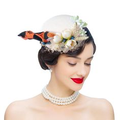 1950s Hats  Tea Party white feather flowers vintage hat Sinamay Hats fcfddec352b2
