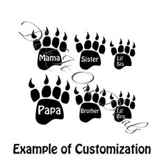 Bear Paw Print EDE00008 by DeckItOutDecals on Etsy