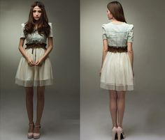 Dress Jean Denim Part Retro Girl Blue TOP With Belt Vintage White Skirt C1MY | eBay