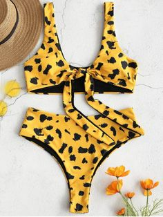 7c6c69214c Leopard Tie Front High Waisted Bikini Set