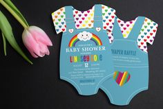 Rainbow Baby Shower Invitations | Cloud & Rainbow Invite | Boy Baby Shower | heart invitation | Die Cut shaped | Printed Invitations