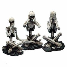 A set of three skeletons sitting cross legged in the see no evil speak no evil hear no evil guise.The perfect addition to any skeleton collection and perfect Halloween decoration. Sitting Cross Legged, See No Evil, Skeleton Bones, Collectible Figurines, Halloween Decorations, Gothic, Lion Sculpture, Skeletons, Statue