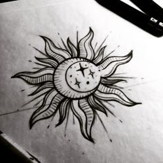 linework sun tattoo - Google Search