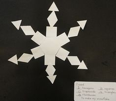 This is a great idea incorporating basic shapes into making snowflakes. We made them this year and they turned out really cute. I should have taken pictures. I let my kids choose their background color though, so ours were more colorful. :)