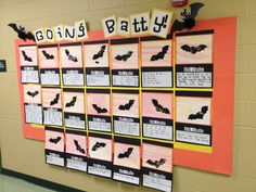 """""""Going Batty"""" For this October and Halloween bulletin board display, students wrote facts about bats. This would be a great activity to use along with the book Stellaluna, which is a story about a bat. You can find bat templates and lesson plans for Stellaluna on this page: http://www.uniqueteachingresources.com/Stellaluna-Lesson-Plans.html"""
