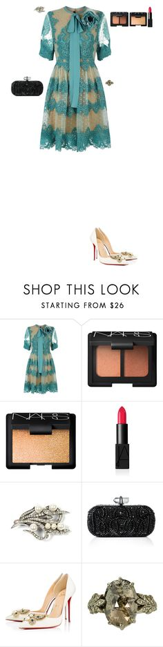 """""""My friend's father's wedding"""" by stylev ❤ liked on Polyvore featuring Elie Saab, NARS Cosmetics, Marchesa and Christian Louboutin"""