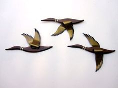 Mid Century Modern Wall Sculpture - Flying Ducks or Geese - 1960s Masketeer Wall Hanging