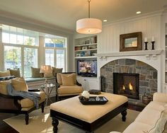 Cozy living room - beautiful fireplace! | http://www.homechanneltv.com/photos-great-rooms.html