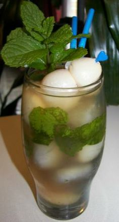 Lychee Iced Tea from Food.com:   								Looking for something to do with the syrup from a can of lychees? Here's a nice way to enjoy it and get some antioxidants from green tea at the same time! From Melody Lan at Asiance Magazine.