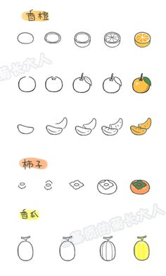 6 How to draw a variety of fruits, chrysanthemum people grow up from a matrix @