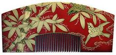Kushi - Sparrows Flying through Bamboo Ornamental Hair Comb. Carved and Hand-Painted Wood. Edo Period.