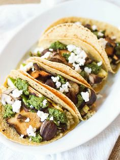 Grilled Mushroom and Zucchini Tacos with Cilantro Pesto