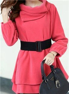 Comfortable Light Red Long Sleeve Belt-Decorated Trench Coat