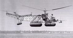 Igor Sikorsky piloting his pontoon-equipped VS-300, 17 April 1941. (Sikorsky Historical Archives)