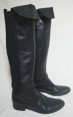 Charles David Tall Boots Black Leather Low Heel Over Knee Stretch Sides Women 8 #CharlesDavid #OverKneeBoots