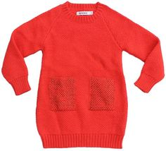 Aymara - red dress - Wow! What a beautiful dress! Warm, nice knitting and a fantastic red colour. The pockets have some rust lurex. Made in Peru based on fair trade principles. 80% baby alpaca/20% acryl.