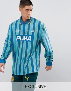 b316c2a8a5ba Puma Retro Soccer Jersey In Blue Exclusive To ASOS Retro Football