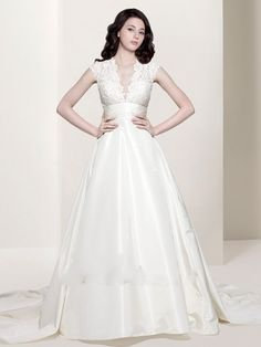 wedding dresses lace ball gown | Neck Lace Taffeta White Ball Gown Wedding Dress