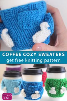 You ll love making adorable Knitted Coffee Cozy Sweaters for friends They make awesome quick knit gifts and these cozies look just a real sweater StudioKnit CoffeeCozy knitcozy freeknittingpattern Sweater Knitting Patterns, Loom Knitting, Knitting Designs, Free Knitting, Free Crochet, Crochet Patterns, Free Christmas Knitting Patterns, Crochet Coffee Cozy, Knitting For Charity