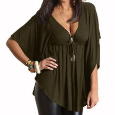 Hot Summer Blusas Femininas  Women Casual Loose Sexy V-Neck Batwing Sleeve Tee Tops Ladies Solid Blouses Shirt Plus Size - ArmyGreen, 4XL Like if you remember Visit us