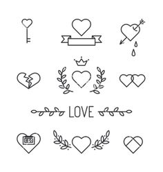 Set of lined hearts and elements in tattoo style vector by MsMoloko on VectorStock®