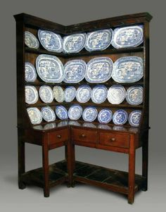 Georgian Welsh Oak Corner Kitchen Dresser with Potboard Base, c.1780