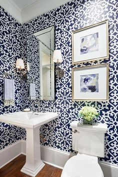 Unique Powder Rooms to Inspire Your Next Remodeling, Home Decor, Patterned powder room design. Blue Powder Rooms, Powder Room Decor, Powder Room Design, Powder Room Lighting, Blue Rooms, Bathroom Lighting, Bad Inspiration, Bathroom Inspiration, Bathroom Interior Design