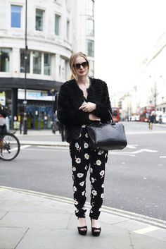 #Floral print trousers add interest to a  #monochrome outfit. #LFW